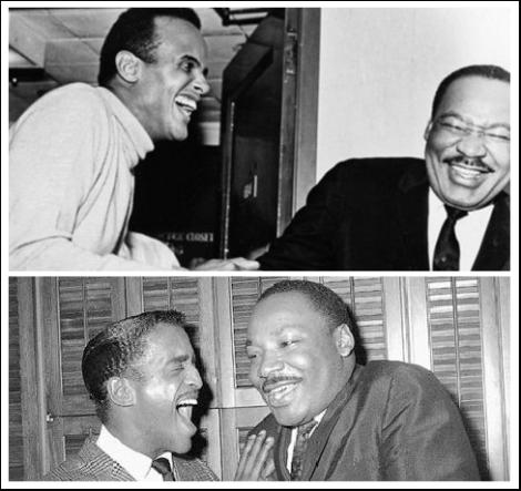 Top: Harry Belafonte and MLK Bottom: Sammy Davis Jr and MLK