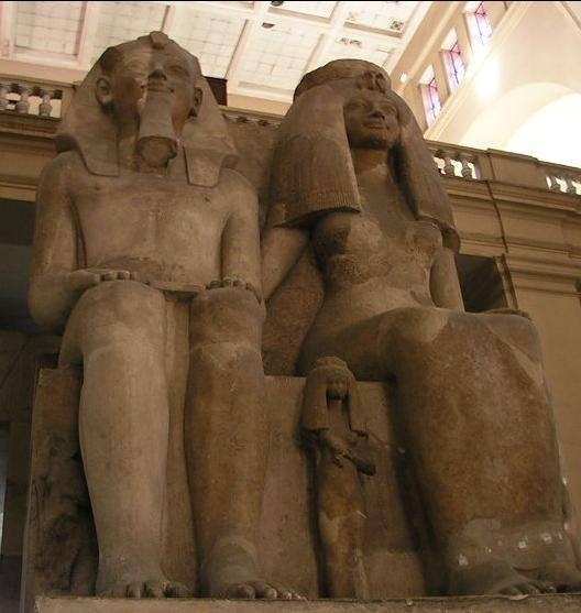 Queen Tiye and Amanhotep III and two of their daughters